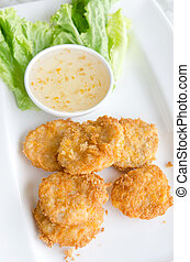 fish cakes - Thai Food Fried Fish Cake Tod Mun Pla
