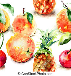 Watercolor illustration of tropical fruits, seamless pattern...