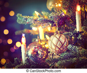 navidad, árbol, adornado, Baratijas, guirnaldas,...