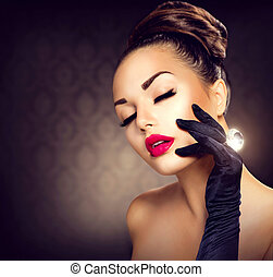 Beauty Fashion Glamour Girl Portrait. Vintage Style Girl