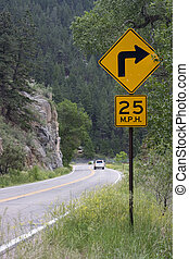 25 mph turning on a mountain road - 25 mph advised speed -...