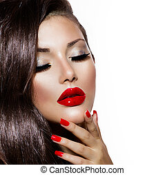 Sexy Beauty Girl with Red Lips and Nails Provocative Makeup