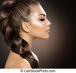 pelo, trenza, hermoso, mujer, sano, largo, pelo
