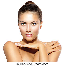 Beauty Model Girl Looking at Camera Skin Care Concept