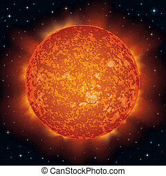 Sun in space - Space background, realistic Star Sun and...