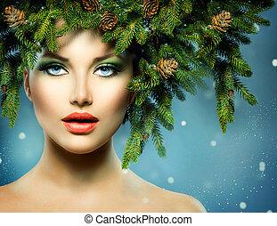Natale, donna, Natale, albero, vacanza, acconciatura, trucco