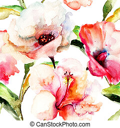 Seamless wallpaper with Lily flowers, watercolor...