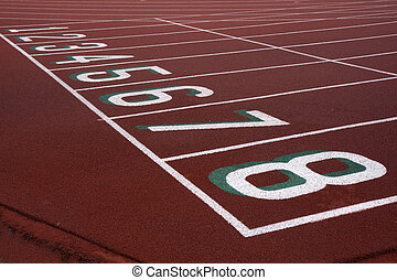 running tracks with starting numbers