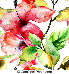 Seamess pattern with Beautiful Lily flower, watercolor...