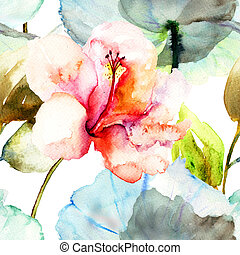 Seamless pattern with Hibiscus flower,watercolor painting