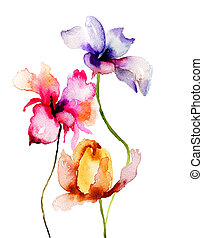 Original Summer flowers, watercolor illustration