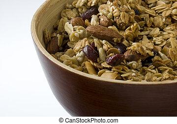 tazón, natural, granola, arándanos, almendras