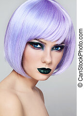 Make-up - Portrait of young beautiful woman with colorful...