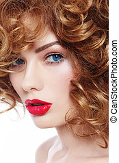 Beauty with red lipstick - Portrait of young beautiful woman...