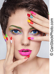 Manicure junkie - Close-up portrait of young stylish...