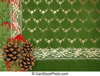 Christmas greeting card with branches of spruce, cone and...
