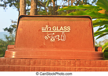 bin with glass symbol - brown recycling bin with glass...