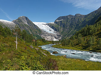 Mountain river formed by meltwater of glacier, panorama