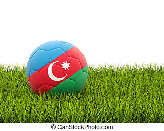 Football with flag of azerbaijan on green grass