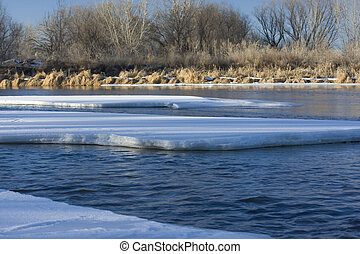 ice on South Platte River, Colorado - partially frozen South...