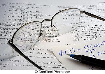 libro, matemáticas, anteojos, hadwritten, notas