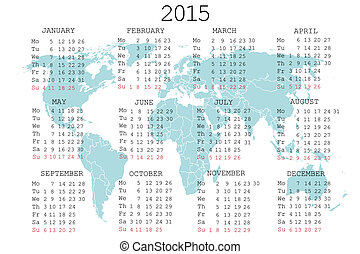 2015 calendar with world map