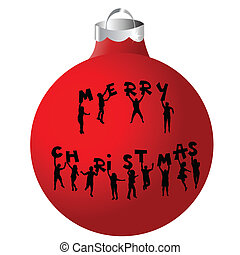 Christmas ball with children silhouettes