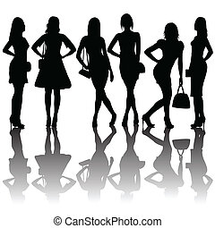 Fashion silhouettes of women