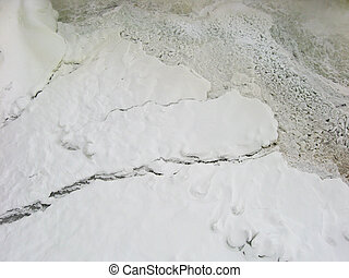 Ice breakup at base of waterfalls - Aerial view of ice...