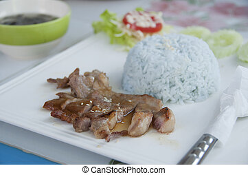 Grilled pork Korean style with rice