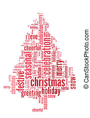 Cristmas tree word cloud in isolated white background