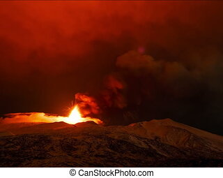 Etna Eruption at night Sicily, Italy Time Laps 4x3