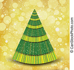 Christmas gold background with tree
