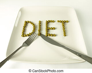 Peas diet - Diet written with peas on a plate