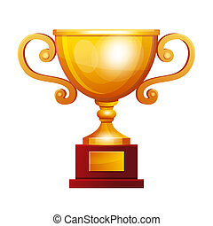 Winner golden cup on white background. Vector