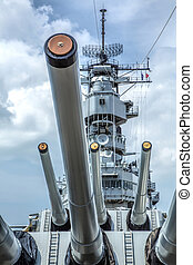 Features of a Battleship - On the deck of the USS Missouri...