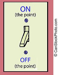 On the point - A light switch that shows an on and off...