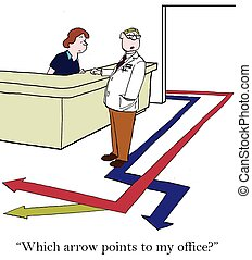 "Confused Doctor - ""Which arrow points to my office."""