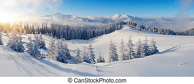 Panorama of winter mountains - Winter panorama of mountains...