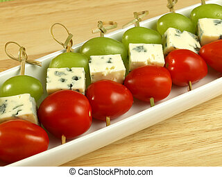 Vegetarian marinated fillets with blue cheese, - Skewers...