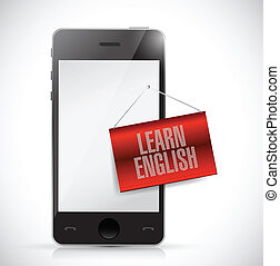 phone and learn english sign banner illustration