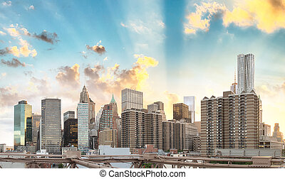 Stunning view of lower Manhattan skyline at dusk from...