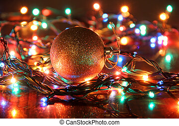 Christmas lights ball - Color electric lights on christmas...