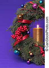 Christmas advent wreath with burning candles