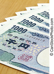 eight peices of one thousand Japanese cashes close up