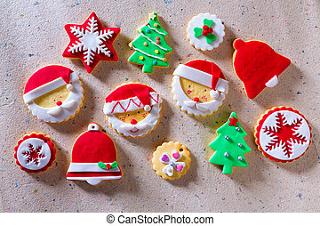 Christmas cookies Xmas tree Santa snowflake on recycled...