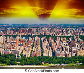 New York. Helicopter view of Central Park area at dusk