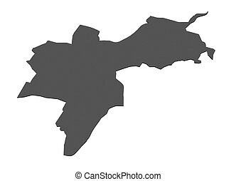 Map of canton Basel City - Switzerland