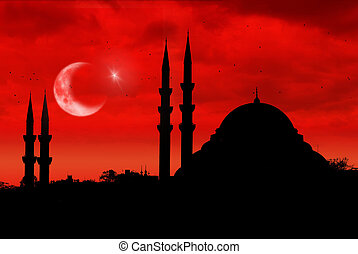 Mosque silhouette as the turkish flag during sunset - Mosque...