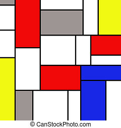 Mondrian wallpaper - Colorful rectangles in mondrian style